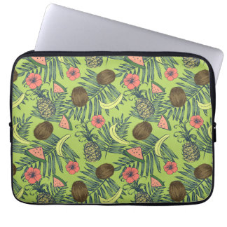 Tropical Fruit Sketch on Green Pattern Laptop Sleeve