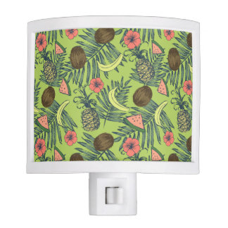 Tropical Fruit Sketch on Green Pattern Night Lites