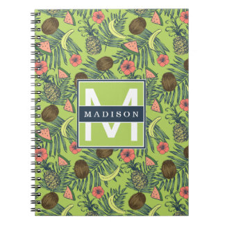 Tropical Fruit Sketch on Green Pattern Notebook