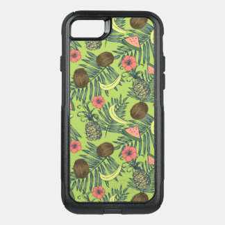 Tropical Fruit Sketch on Green Pattern OtterBox Commuter iPhone 8/7 Case