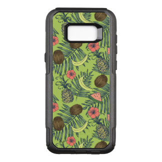 Tropical Fruit Sketch on Green Pattern OtterBox Commuter Samsung Galaxy S8+ Case