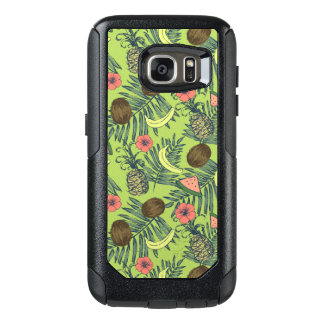 Tropical Fruit Sketch on Green Pattern OtterBox Samsung Galaxy S7 Case