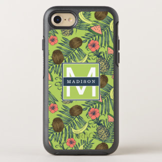 Tropical Fruit Sketch on Green Pattern OtterBox Symmetry iPhone 8/7 Case
