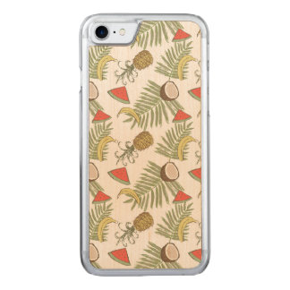Tropical Fruit Sketch Pattern Carved iPhone 8/7 Case