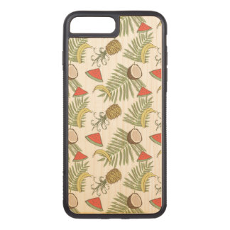 Tropical Fruit Sketch Pattern Carved iPhone 8 Plus/7 Plus Case