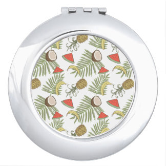 Tropical Fruit Sketch Pattern Compact Mirror