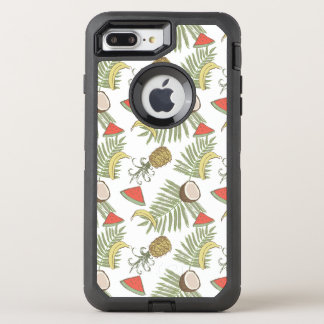 Tropical Fruit Sketch Pattern OtterBox Defender iPhone 8 Plus/7 Plus Case