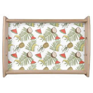 Tropical Fruit Sketch Pattern Serving Tray