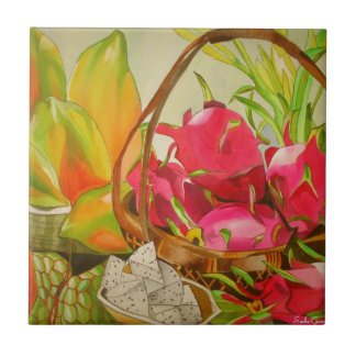 Tropical Fruit watercolor original art still life Tile