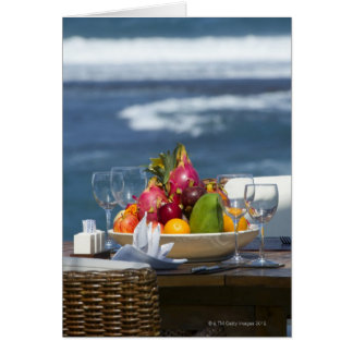 Tropical Fruits By The Ocean On Table Card