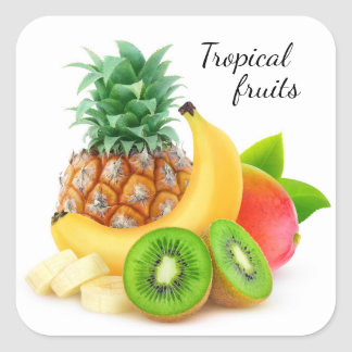 Tropical fruits square sticker