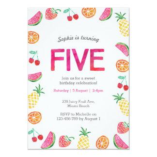 Tropical fruity Pink Birthday Invitation
