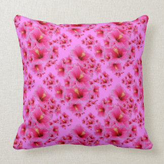 TROPICAL FUCHSIA PINK HIBISCUS FLOWERS THROW PILLOW