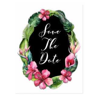 Tropical Garden Flowers & Leaves Save the Date Postcard