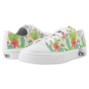Tropical garden, hibiscus plumeria and palm leaves Low-Top sneakers