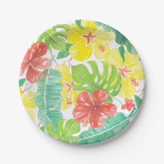 Tropical garden, hibiscus plumeria and palm leaves paper plate
