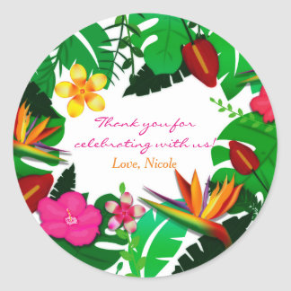 Tropical Garden Leaves & Flowers Favor Stickers