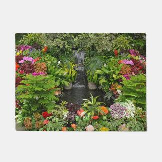 Tropical garden pond and waterfall doormat