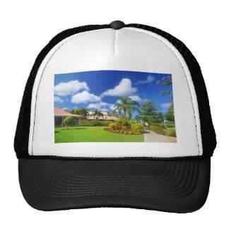 Tropical garden trucker hat