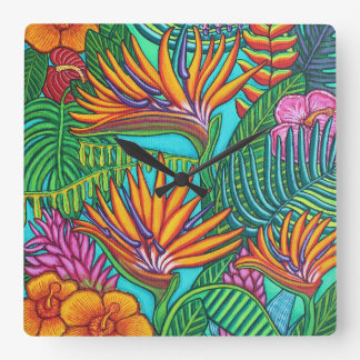 Tropical Gems Square Wall Clock