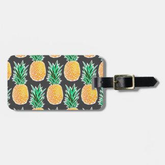 Tropical Geometric Pineapple Pattern Luggage Tag
