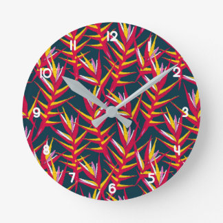 Tropical ginger printed embroidery round clock