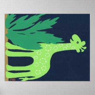 Tropical Giraffe Art for Kids, Safari Sky Look Poster