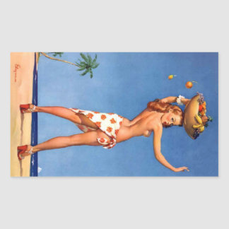 Tropical Girl Pin Up Sticker