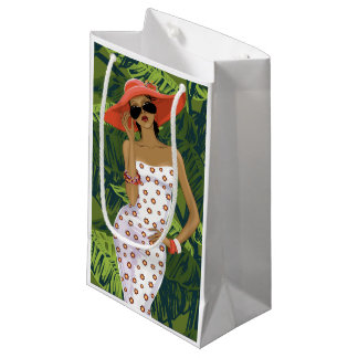 Tropical Girl With Big Red Hat Small Gift Bag