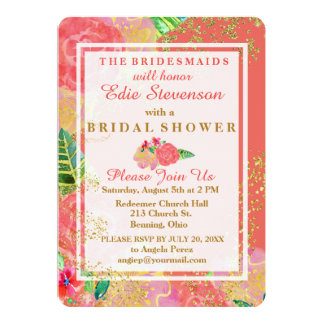 Tropical Glittery Watercolor Bridal Shower Card