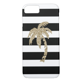 Tropical Gold Glitter Palm Tree on Black & White iPhone 7 Case