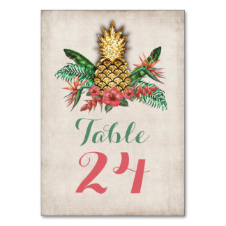 Tropical Gold glitter Pineapple table numbers