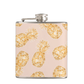 Tropical gold Hawaiian pineapples pattern on pink Flasks
