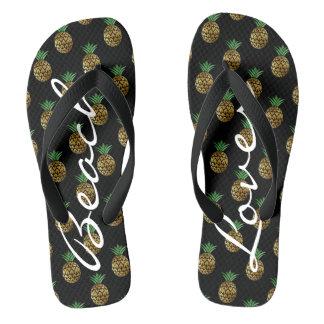 Tropical Golden Pineapple Flip Flops