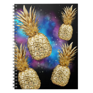 Tropical golden pineapple galaxy notebook