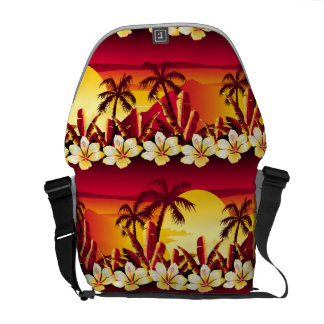 Tropical golden sunset courier bags