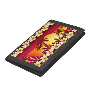 Tropical golden sunset tri-fold wallets