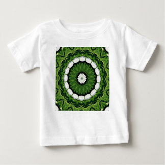 Tropical Green and White Flora Mandala Baby T-Shirt