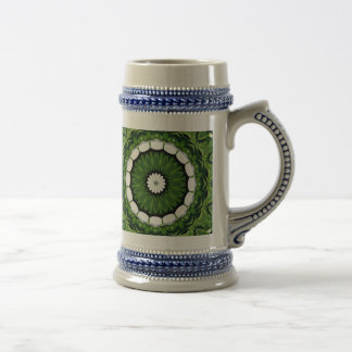 Tropical Green and White Flora Mandala Beer Stein