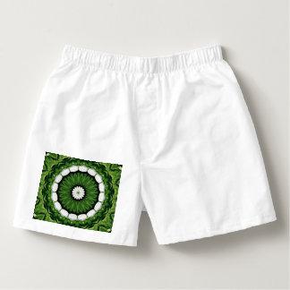 Tropical Green and White Flora Mandala Boxers