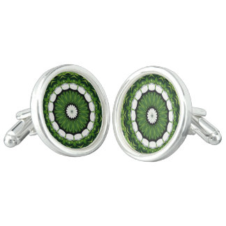 Tropical Green and White Flora Mandala Cuff Links