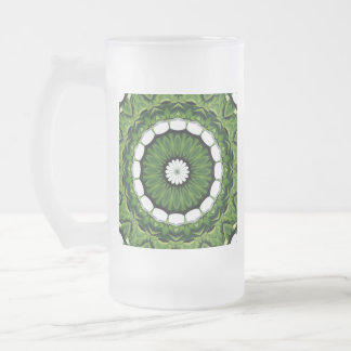 Tropical Green and White Flora Mandala Frosted Glass Beer Mug