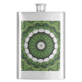 Tropical Green and White Flora Mandala Hip Flask