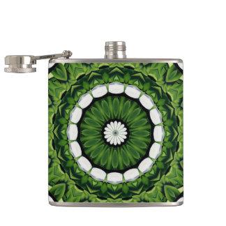 Tropical Green and White Flora Mandala Hip Flask