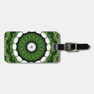 Tropical Green and White Flora Mandala Luggage Tag