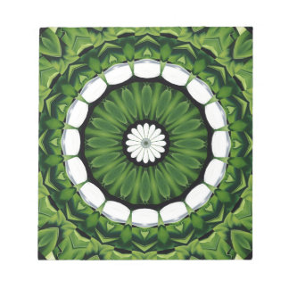 Tropical Green and White Flora Mandala Notepad