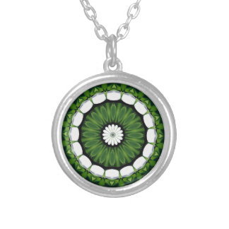 Tropical Green and White Flora Mandala Silver Plated Necklace