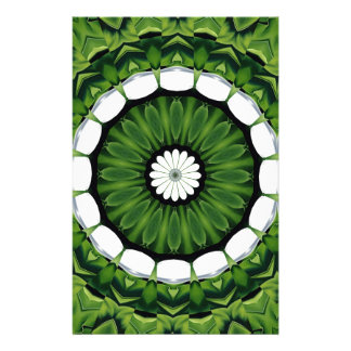 Tropical Green and White Flora Mandala Stationery
