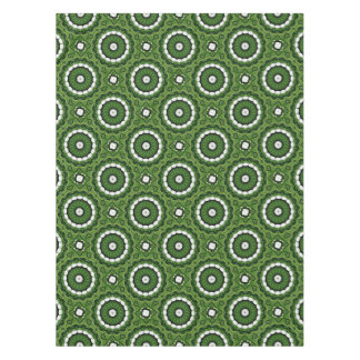 Tropical Green and White Flora Mandala Tablecloth