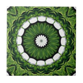 Tropical Green and White Flora Mandala Tile